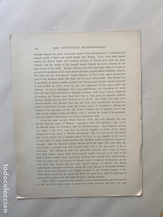 Arte: MALAGA , FROM THE SUGAR FIELDS BY EDWARD T. COMPTON DE 1890 , LITOGRAFIA - Foto 2 - 193574332
