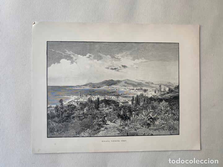 MALAGA , LOOKING WEST BY EDWARD T. COMPTON DE 1890 , LITOGRAFIA (Arte - Cromolitografía)