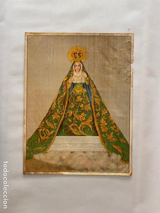 CROMOLITOGRAFÍA ORIGINAL POSIBLE DE ALCALÁ MÁLAGA , VIRGEN DE LA ESPERANZA . MEDIDAS 52 X 39,6 CM. (Arte - Cromolitografía)