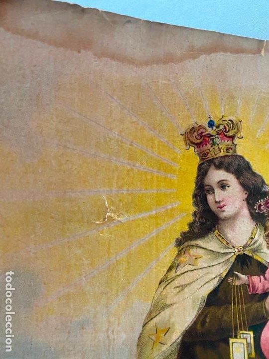 Arte: cromolitografía original de alcalá MÁLAGA , virgen del carmen . medidas 41,5 x 32 cm. - Foto 2 - 193983600