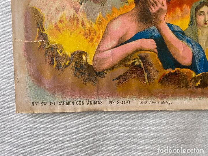 Arte: cromolitografía original de alcalá MÁLAGA , virgen del carmen . medidas 41,5 x 32 cm. - Foto 3 - 193983600