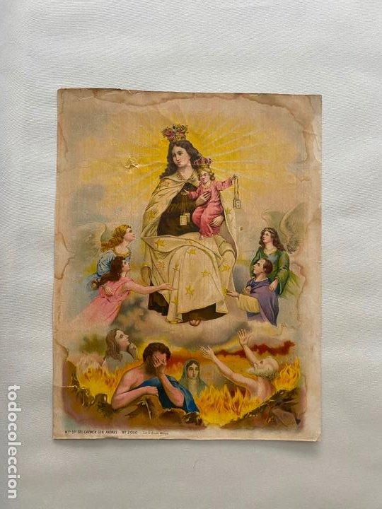 CROMOLITOGRAFÍA ORIGINAL DE ALCALÁ MÁLAGA , VIRGEN DEL CARMEN . MEDIDAS 41,5 X 32 CM. (Arte - Cromolitografía)