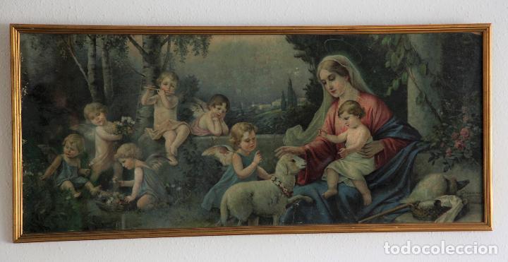 CROMOLITOGRAFÍA GRAN FORMATO -ESCENA RELIGIOSA-. (Arte - Cromolitografía)