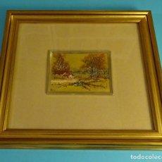 Arte: CROMOLITOGRAFÍA FIRMADA REALIZADA CON PRENSA MANUAL SOBRE HOJA DE ORO. FORMATO 8,5 X 11,5 CM. Lote 194877552