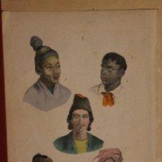 Arte: RAZAS DE HOMBRES DEL MUNDO LITOGRAFIA REALIZADA A MANO IMPRIMIDA EN COLORES EN 1876 ORIGINAL. Lote 197690783