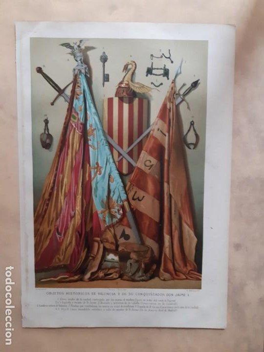 CROMOLITOGRAFÍA DEL SIGLO XIX OBJETOS HISTÓRICOS DE VALENCIA Y DE SU CONQUISTADOR DON JAIME I (Arte - Cromolitografía)