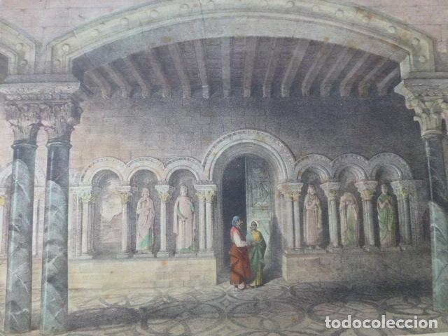 CARRION DE LOS CONDES PALENCIA SANTA MARIA DE BENEVIVERE ANTIGUA CROMOLITOGRAFIA 24 X 32 CMTS (Arte - Cromolitografía)