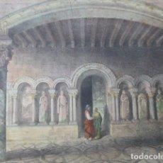 Art: CARRION DE LOS CONDES PALENCIA SANTA MARIA DE BENEVIVERE ANTIGUA CROMOLITOGRAFIA 24 X 32 CMTS. Lote 200103667
