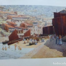 Arte: CUDILLERO ASTURIAS EL PUERTO CROMOLITOGRAFIA 1905 POR ARTISTA INGLES WIGRAM. Lote 200164280