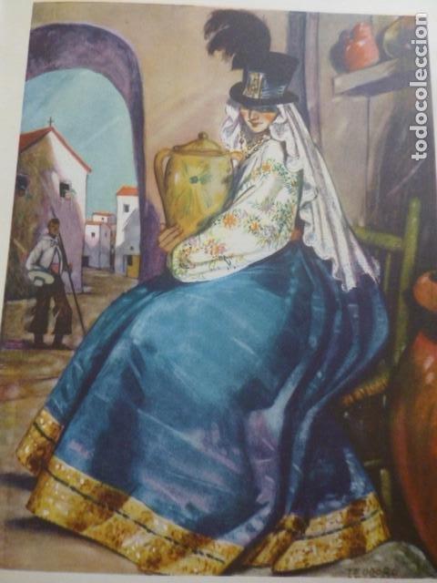 HUELVA MUJER CROMOLITOGRAFIA AÑOS 40 TEODORO DELGADO ILUSTRADOR (Arte - Cromolitografía)