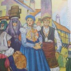 Arte: ANSO HUESCA TIPOS ANSOTANOS CROMOLITOGRAFIA AÑOS 40 TEODORO DELGADO ILUSTRADOR. Lote 200830165