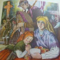 Arte: GALICIA TIPOS GALLEGOS CROMOLITOGRAFIA AÑOS 40 TEODORO DELGADO ILUSTRADOR. Lote 200830546