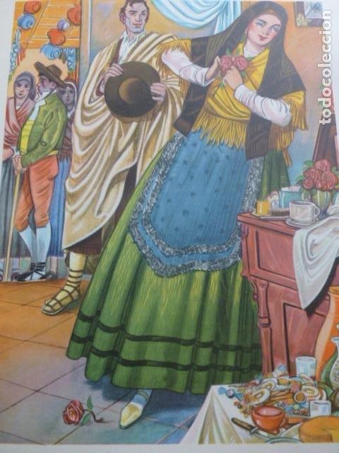 SORIA TIPOS SORIANOS CROMOLITOGRAFIA AÑOS 40 TEODORO DELGADO ILUSTRADOR (Arte - Cromolitografía)