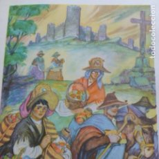 Arte: AVILA TIPOS ABULENSES CAMINO DEL MERCADO CROMOLITOGRAFIA AÑOS 40 TEODORO DELGADO ILUSTRADOR. Lote 200830752