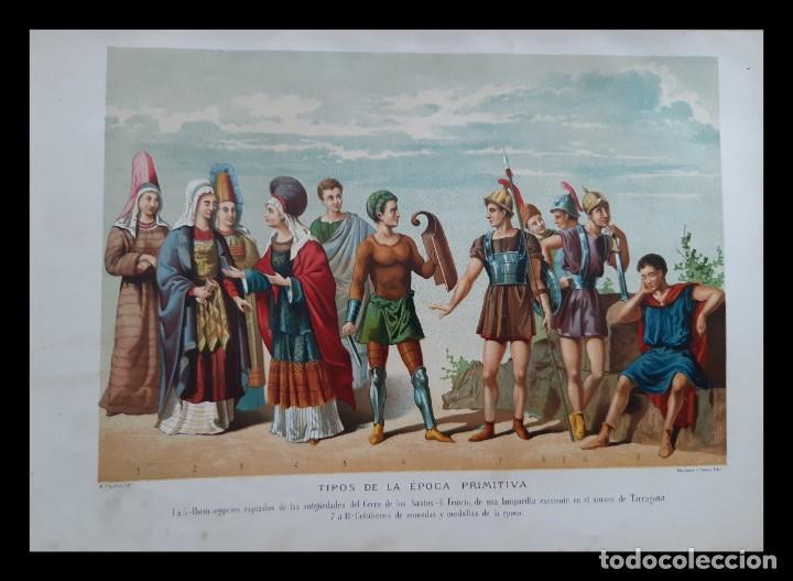 DOS PRECIOSAS CROMOLITOGRAFÍAS DEL SIGLO XIX DE TIPOS DE LA ÉPOCA HISPANO-ROMANA Y PRIMITIVA (Arte - Cromolitografía)