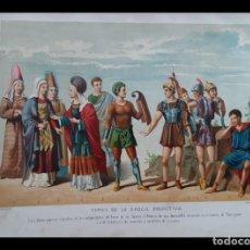 Arte: DOS PRECIOSAS CROMOLITOGRAFÍAS DEL SIGLO XIX DE TIPOS DE LA ÉPOCA HISPANO-ROMANA Y PRIMITIVA. Lote 201302571