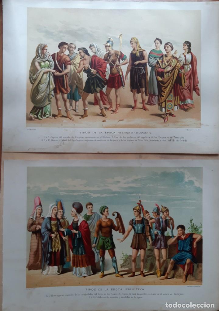 Arte: Dos preciosas cromolitografías del siglo XIX de Tipos de la Época Hispano-Romana y Primitiva - Foto 2 - 201302571