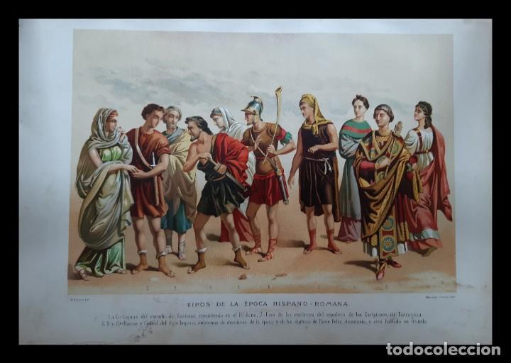 Arte: Dos preciosas cromolitografías del siglo XIX de Tipos de la Época Hispano-Romana y Primitiva - Foto 3 - 201302571