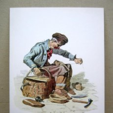 Arte: BELLA LAMINA CROMOLITOGRAFIA CARTON - EL ZAPATERO - FRANCESCO DE BOURCARD. Lote 202378890
