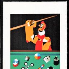 Arte: EQUIPO CRÓNICA GALLO EN BILLAR REPRODUCCIÓN OBRA IMPRESIÓN DIGITAL NUMERADA LÁPIZ 275/300 PA ARCHES. Lote 204331347