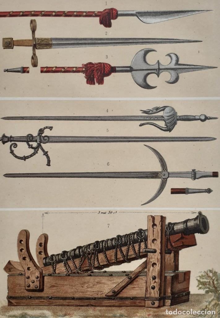 Arte: Armas Medievales de los Siglos XIII y XIV - Guerra, Espadas - Cromolitografía Original - Ca. 1890 - Foto 2 - 204468708