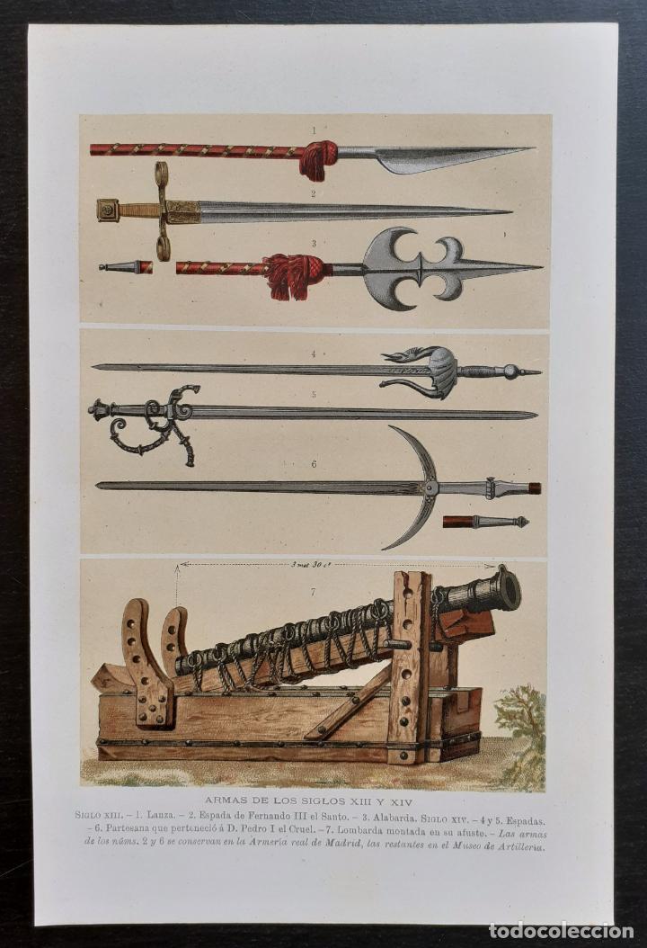 ARMAS MEDIEVALES DE LOS SIGLOS XIII Y XIV - GUERRA, ESPADAS - CROMOLITOGRAFÍA ORIGINAL - CA. 1890 (Arte - Cromolitografía)
