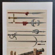 Arte: ARMAS MEDIEVALES DE LOS SIGLOS XIII Y XIV - GUERRA, ESPADAS - CROMOLITOGRAFÍA ORIGINAL - CA. 1890. Lote 204468708