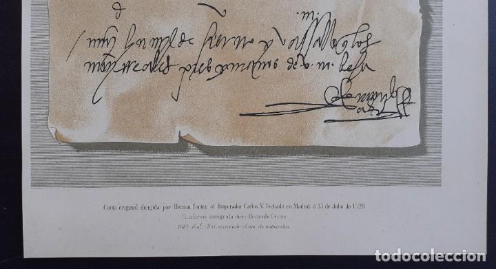 Arte: Carta Original Dirigida por Hernán Cortés al Emperador Carlos V - Cromolitografía - Ca. 1880 - Foto 4 - 204474152