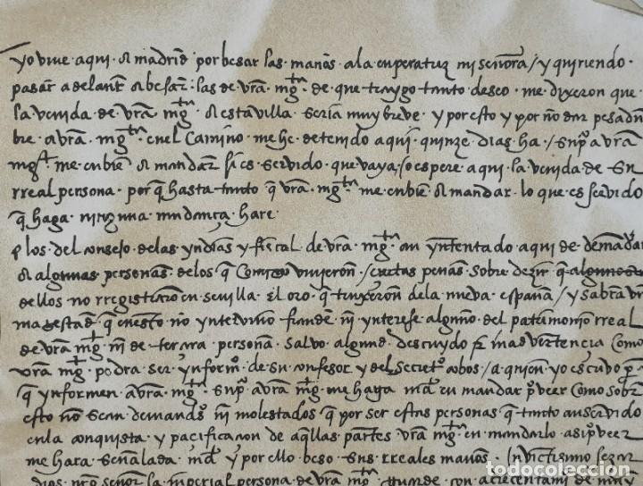 Arte: Carta Original Dirigida por Hernán Cortés al Emperador Carlos V - Cromolitografía - Ca. 1880 - Foto 3 - 204474152