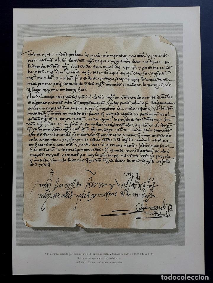 Arte: Carta Original Dirigida por Hernán Cortés al Emperador Carlos V - Cromolitografía - Ca. 1880 - Foto 2 - 204474152