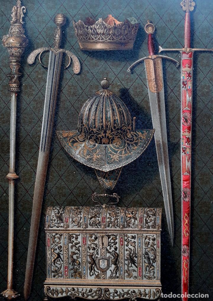Arte: Objetos de los Reyes Católicos - Cromolitografía Original del Siglo XIX - Ca. 1880 - 33 x 23 cm. - Foto 2 - 204474782