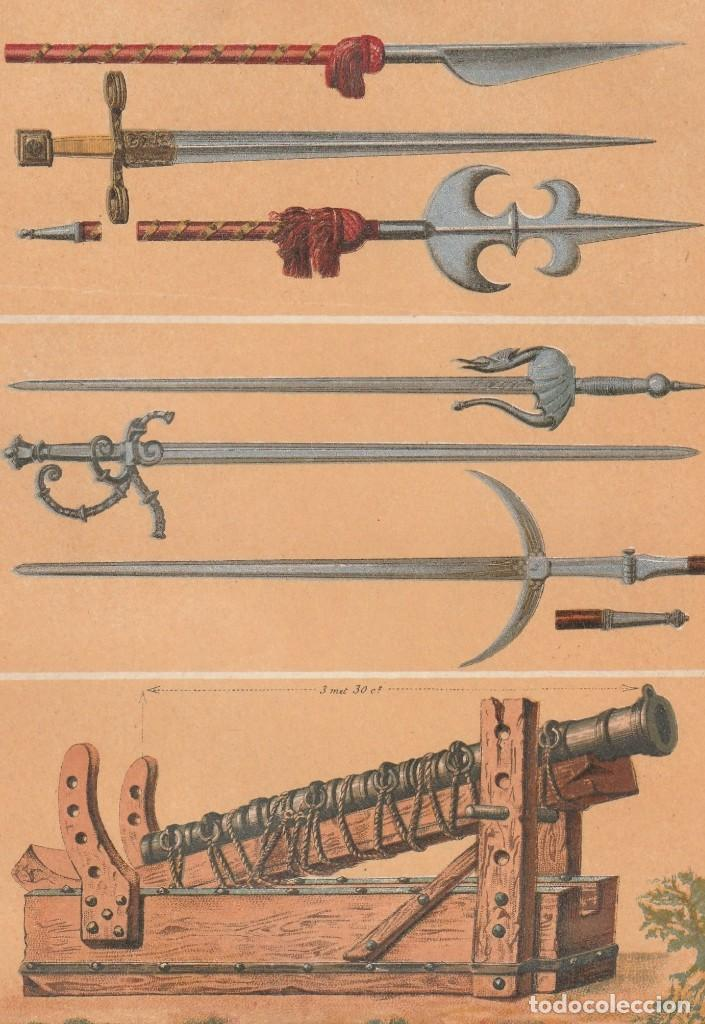 Arte: Armas Medievales de los Siglos XIII y XIV - Guerra, Edad Media - Cromolitografía Original - Año 1930 - Foto 2 - 204478038