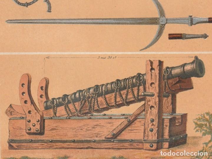 Arte: Armas Medievales de los Siglos XIII y XIV - Guerra, Edad Media - Cromolitografía Original - Año 1930 - Foto 3 - 204478038