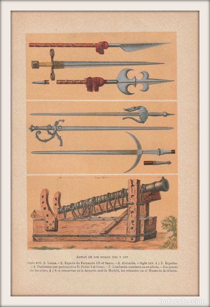 ARMAS MEDIEVALES DE LOS SIGLOS XIII Y XIV - GUERRA, EDAD MEDIA - CROMOLITOGRAFÍA ORIGINAL - AÑO 1930 (Arte - Cromolitografía)