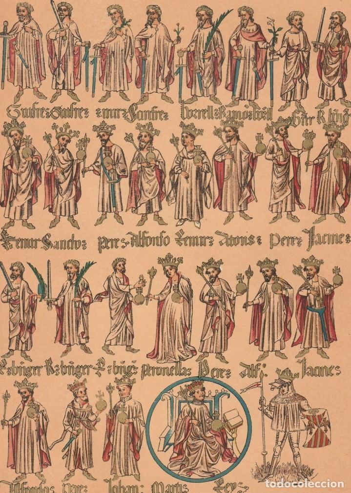 Arte: Rótulo Genealógico de los Condes de Barcelona y Reyes de Aragón - Cromolitografía Original - 1930 - Foto 3 - 204478298