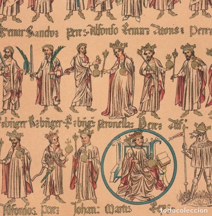 RÓTULO GENEALÓGICO DE LOS CONDES DE BARCELONA Y REYES DE ARAGÓN - CROMOLITOGRAFÍA ORIGINAL - 1930 (Arte - Cromolitografía)