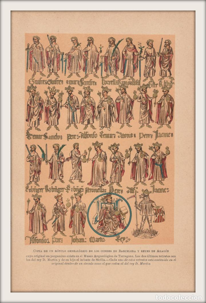 Arte: Rótulo Genealógico de los Condes de Barcelona y Reyes de Aragón - Cromolitografía Original - 1930 - Foto 2 - 204478298