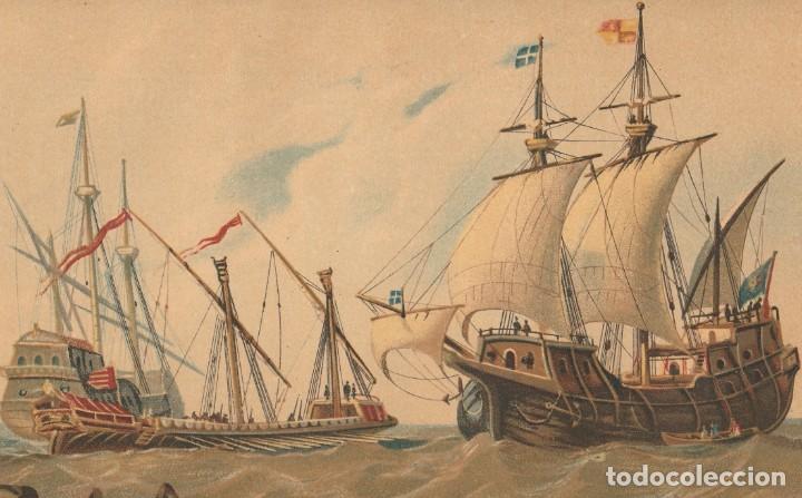 Arte: Embarcaciones de los Siglos XIV y XV - Barcos, Navíos - Cromolitografía Original - Año 1930 - Foto 3 - 204478370