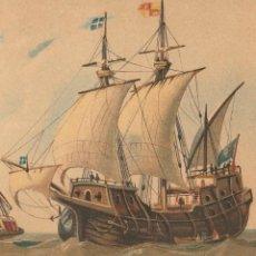 Arte: EMBARCACIONES DE LOS SIGLOS XIV Y XV - BARCOS, NAVÍOS - CROMOLITOGRAFÍA ORIGINAL - AÑO 1930. Lote 204478370