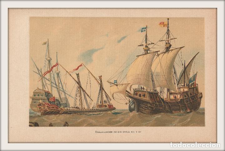 Arte: Embarcaciones de los Siglos XIV y XV - Barcos, Navíos - Cromolitografía Original - Año 1930 - Foto 2 - 204478370