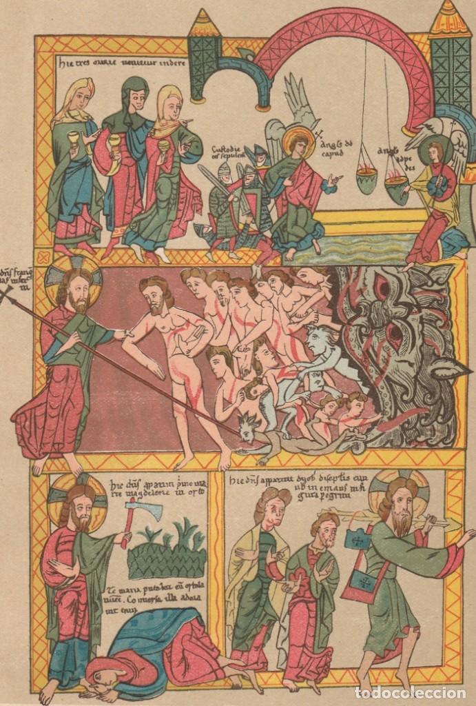 MINIATURA DE UN BIBLIA MEDIEVAL DEL SIGLO XII - ARTE - EDAD MEDIA - CROMOLITOGRAFÍA - AÑO 1930 (Arte - Cromolitografía)