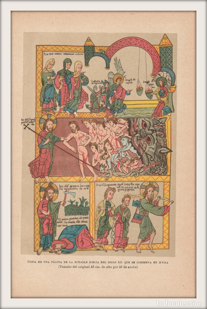 Arte: Miniatura de un Biblia Medieval del Siglo XII - Arte - Edad Media - Cromolitografía - Año 1930 - Foto 2 - 204480956