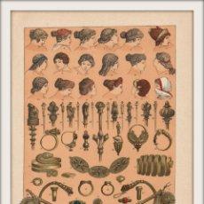 Arte: TOCADOS Y OBJETOS DE ADORNO DE LOS ANTIGUOS ROMANOS - ROMA - CROMOLITOGRAFÍA ORIGINAL - AÑO 1930. Lote 204481657