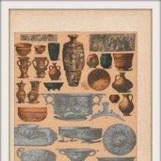 Arte: VASIJAS DE BARRO Y PLATA DE LOS ANTIGUOS ROMANOS - ROMA - CROMOLITOGRAFÍA ORIGINAL - AÑO 1930. Lote 204481753