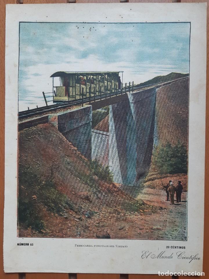 Arte: Colección de 4 cromolitografías industriales del siglo XIX/Método trasplante árboles- Tren Tibidabo - Foto 4 - 199870905