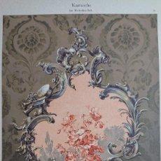 Arte: CROMOLITOGRAFIA KARTUSCHE FLORES DE ESTILO ROCOCO ADAM GATTERNICHT- DEKORATIVE VORBILDER. Lote 206231245
