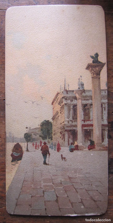 Arte: CUATRO ANTIGUAS VISTAS DE VENECIA ESTAMPADAS SOBRE CARTÓN, SEGUN PINTURAS. 21 X 10 CM - Foto 2 - 207255613