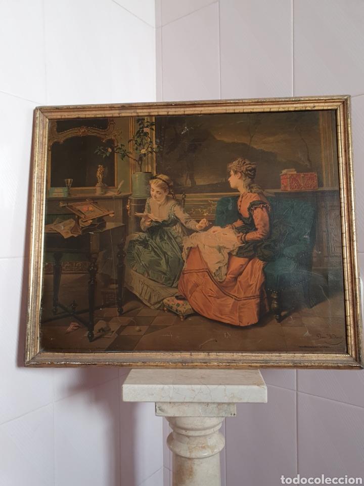 ANTIGUA CROMOLITOGRAFIA AFIANZADA SOBRE LIENZO S.XIX (Arte - Cromolitografía)