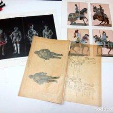 Arte: ANTIGUAS 4 BELLAS LAMINAS ESPASA C.1900 SOBRE ARMADURAS - METALIZADAS PLATA. Lote 215390508