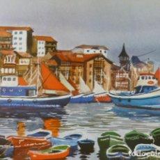 Arte: LEQUEITIO VIZCAYA PUERTO CROMOLITOGRAFIA 20,5 X 22 CMTS. Lote 216932367